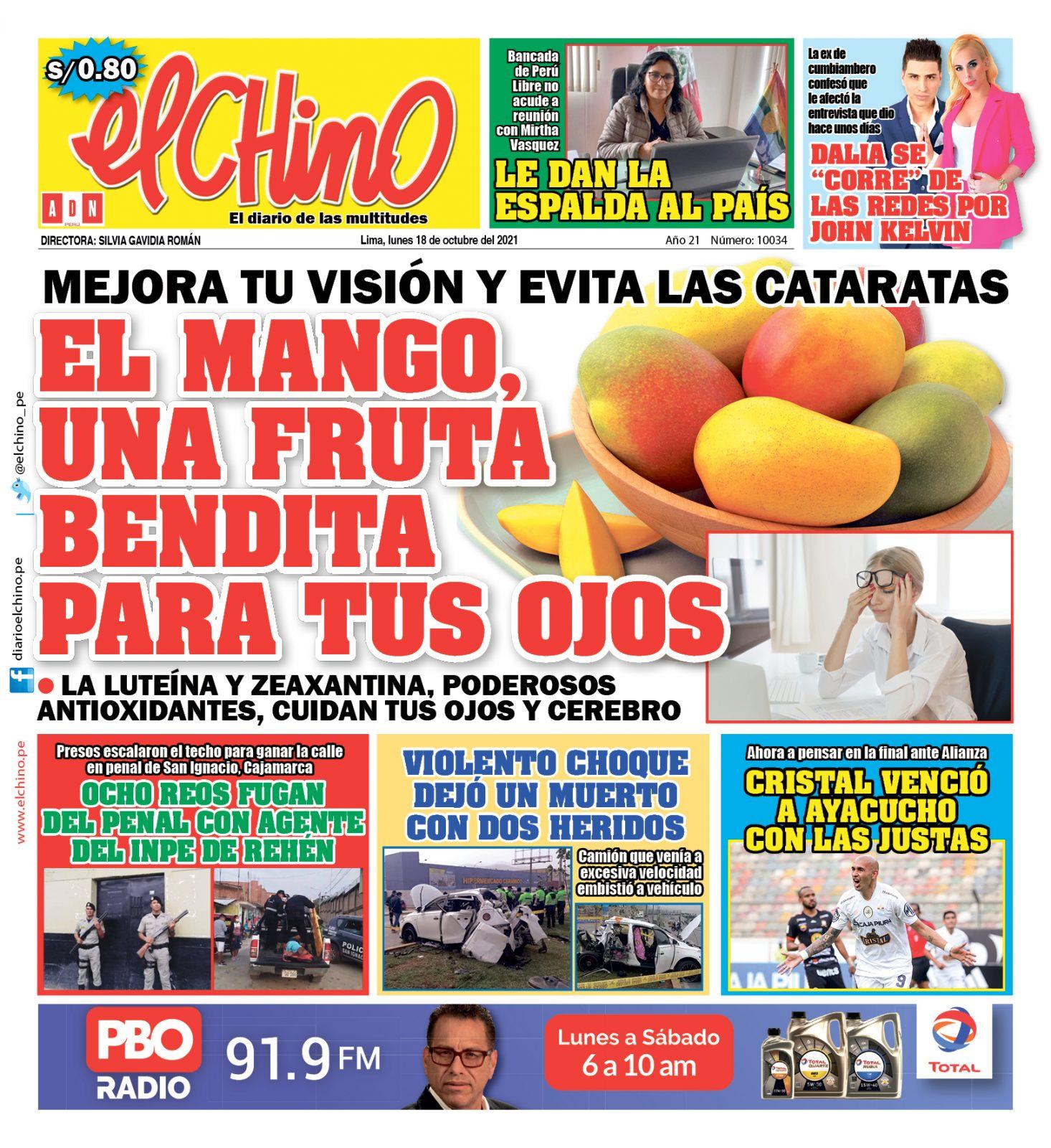 Portada impresa – Diario El Chino (18/10/2021)