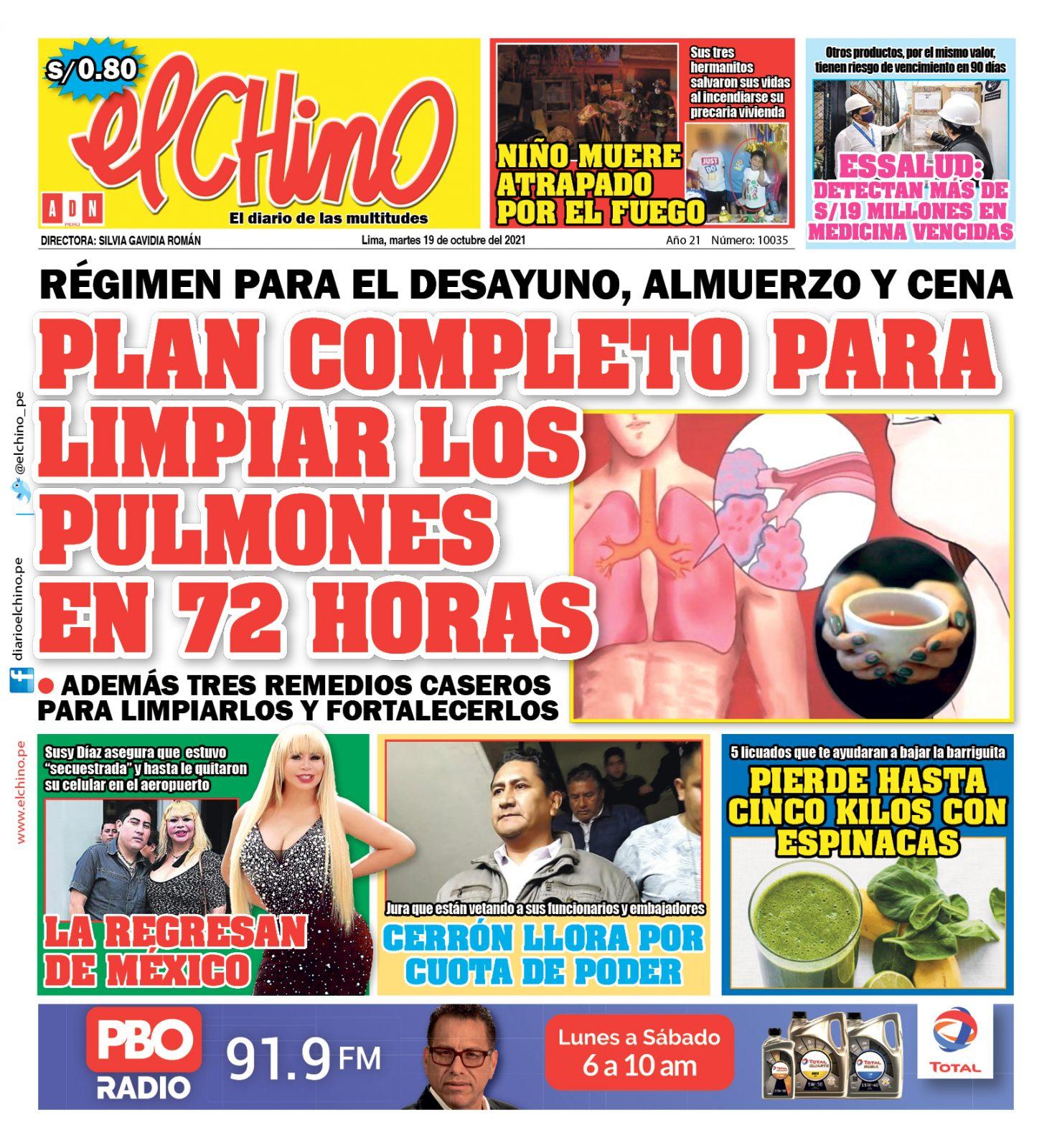 Portada impresa – Diario El Chino (19/10/2021)