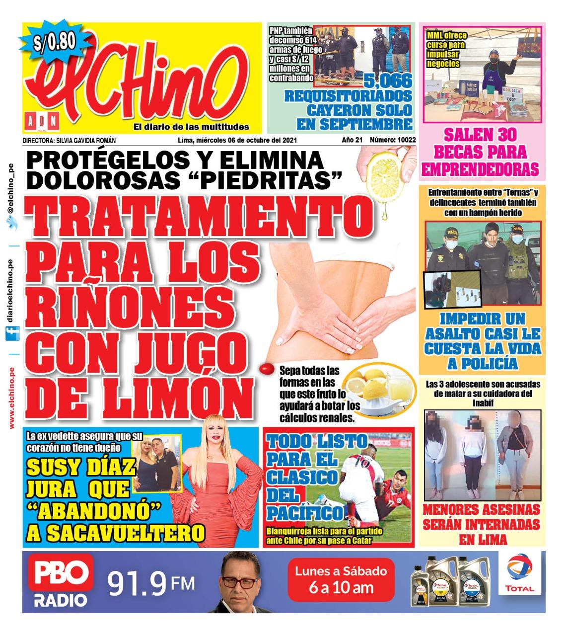 Portada impresa – Diario El Chino (06/10/2021)