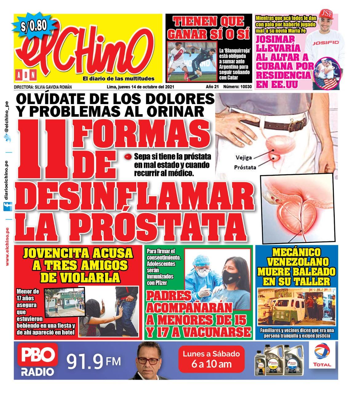 Portada impresa – Diario El Chino (14/10/2021)