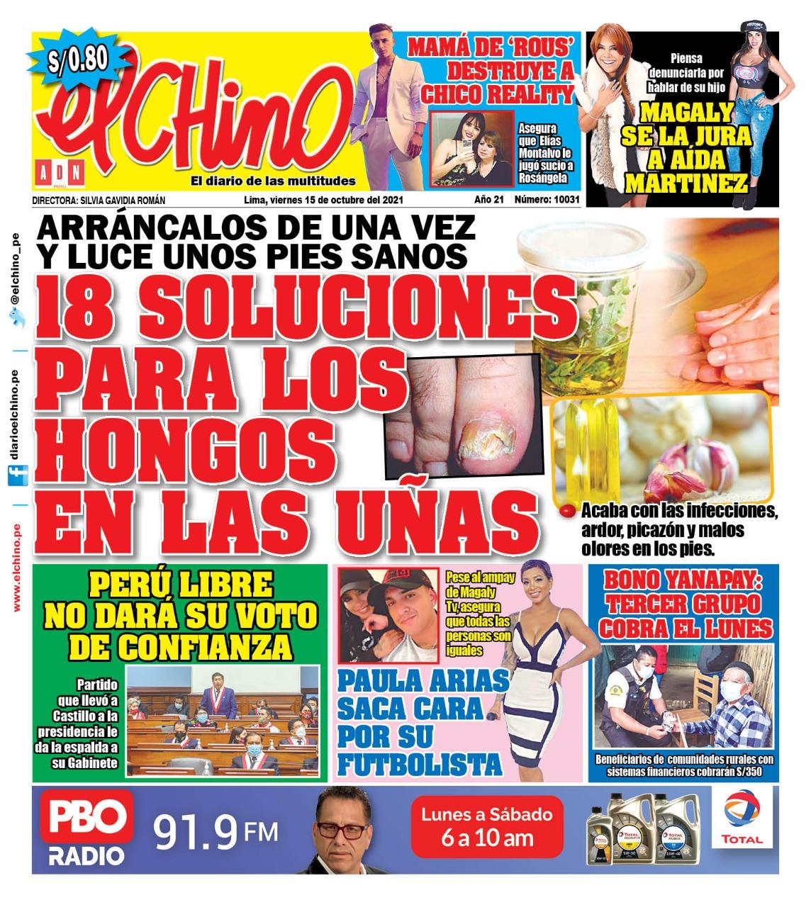Portada impresa – Diario El Chino (15/10/2021)