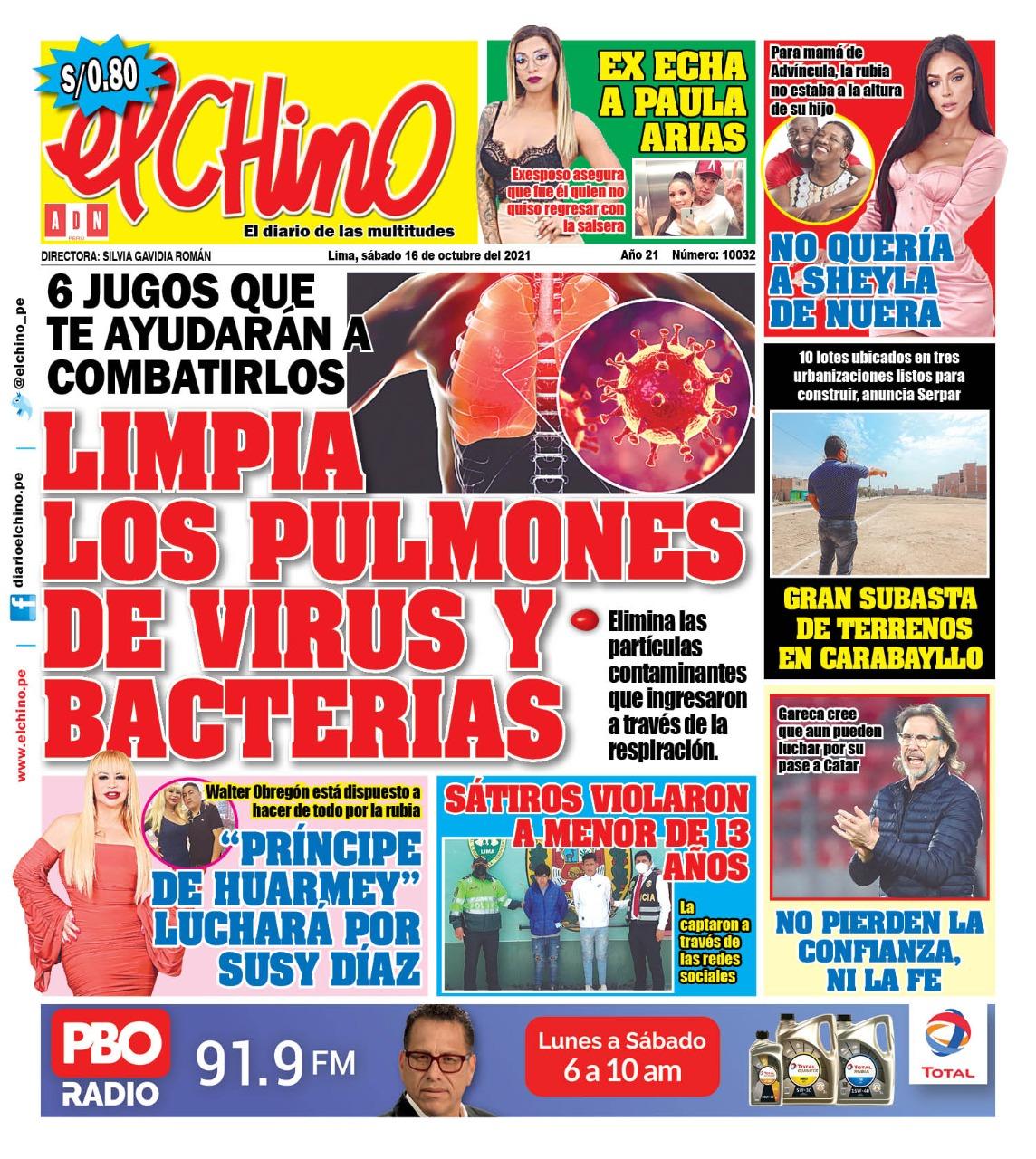Portada impresa – Diario El Chino (16/10/2021)