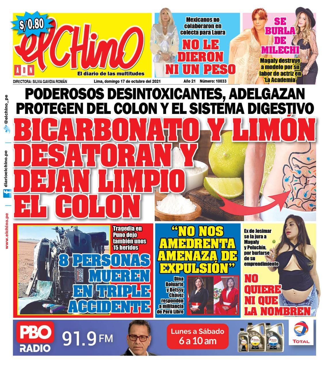 Portada impresa – Diario El Chino (17/10/2021)