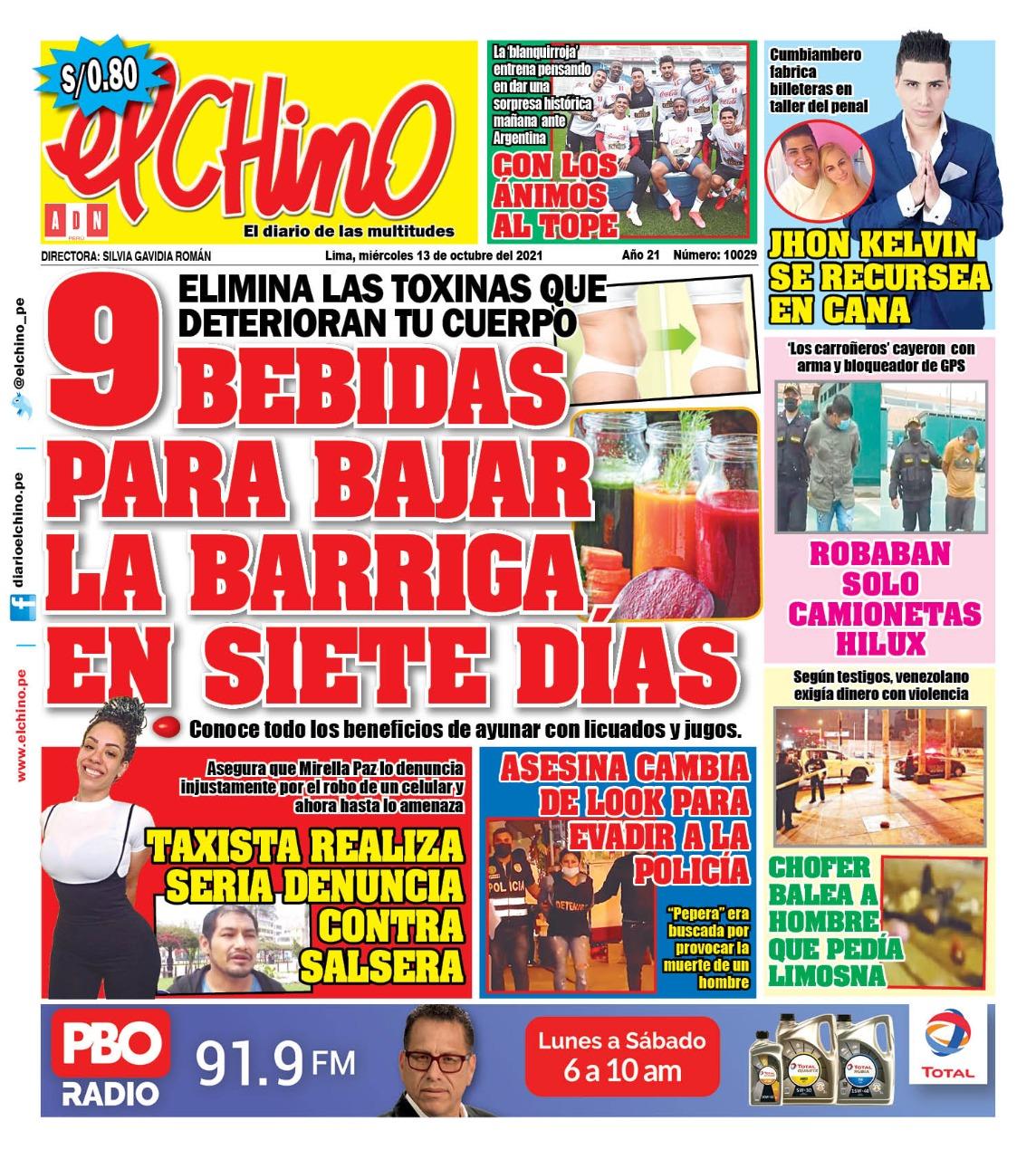 Portada impresa – Diario El Chino (13/10/2021)