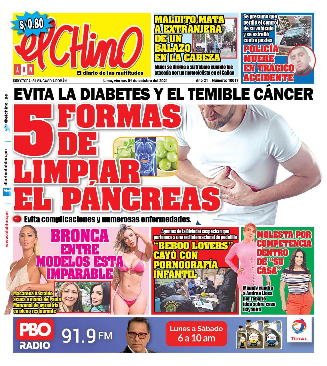 Portada impresa – Diario El Chino (01/10/2021)